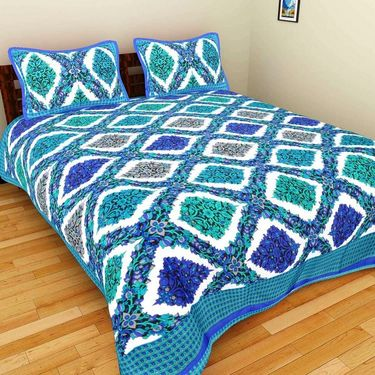 GRJ India Pure Cotton Multi Colour 3 Double BedSheet With 6 Pillow Covers-GRJ-3DB-71RD-67BL-73BL