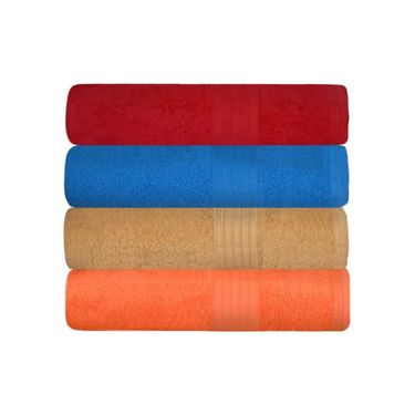 GRJ INDIA Cotton Maroon Blue bath Towels  (Set Of 4)-GRJ-4BTWL-49