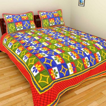 GRJ India Pure Cotton Multi Colour 4 Double BedSheet With 8 Pillow Covers-GRJ-4DB-71PL-67PK-72GRN-73BR