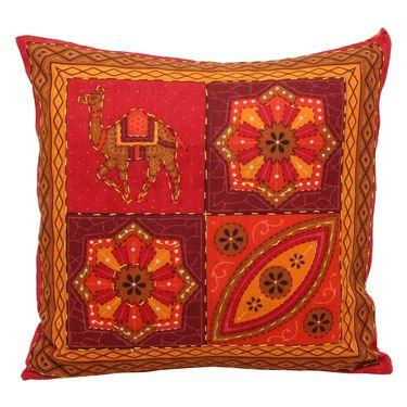 GRJ India Traditional Kantha Work  Rajasthani Print Cushion Cover Set-5 pcs-GRJ-CC-5P-21