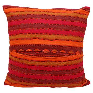 GRJ India Traditional Kantha Work  Floral Print Cushion Cover Set-5 pcs-GRJ-CC-5P-24