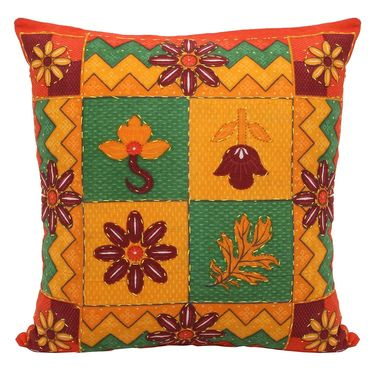 GRJ India Traditional Kantha Work  Floral Print Cushion Cover Set-5 pcs-GRJ-CC-5P-26