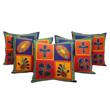 GRJ India Traditional Kantha Work  Floral Print Cushion Cover Set-5 pcs-GRJ-CC-5P-27