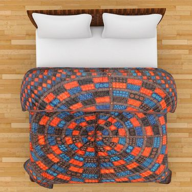 GRJ India Designer Printed Double Bed Quilt-GRJ-DQ-134