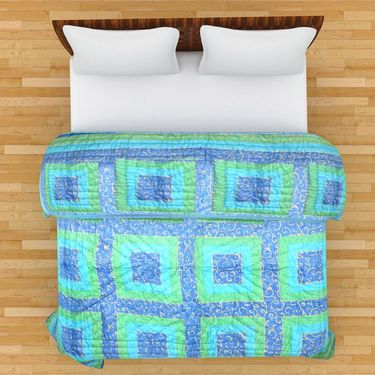 GRJ India Designer Printed Single Bed Quilt-GRJ-SQ-153