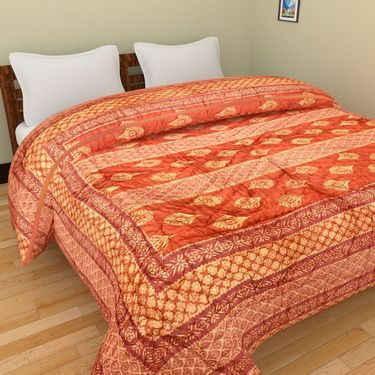 GRJ India Designer Printed Single Bed Quilt-GRJ-SQ-159
