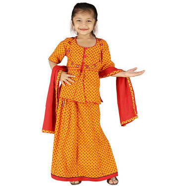 Little India Girls Traditional Sanganeri Red Lehanga Choli - DLI3GED101C
