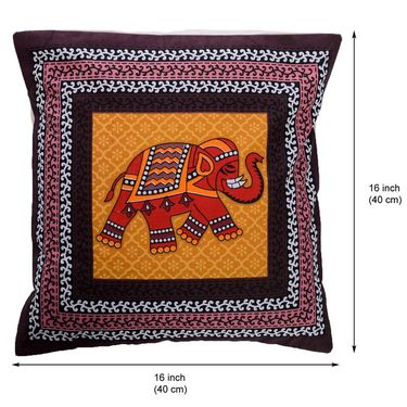 eCraftIndia Elephant Printed Set of 5 Cotton Cushion Covers-HF5CC160_H