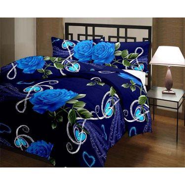 eCraftIndia Jumbo Blue Rose and Heart Design Single Bed Reversible AC Blanket-HFBD166