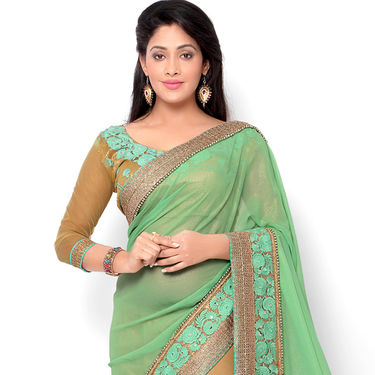 Indian Women Georgette Printed Saree -HT71001