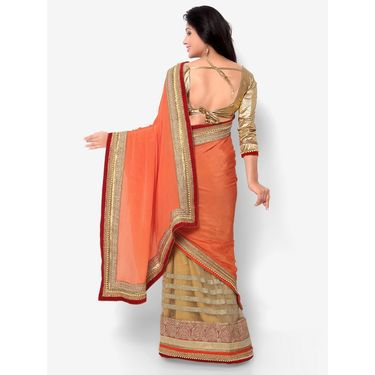 Indian Women Satin Chiffon Printed Saree -HT71002