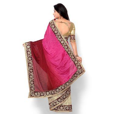 Indian Women Satin Chiffon Printed Saree -HT71010