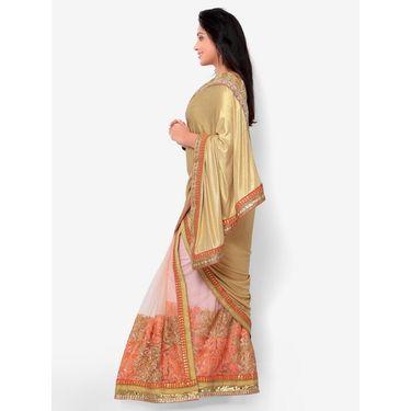 Indian Women Glitter Crepe Printed Saree -HT71015