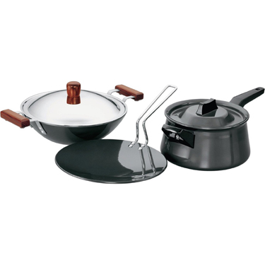 Hawkins Futura 4pcs Hard Anodized Cookware Set - Black LS4