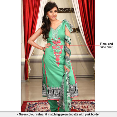 Heena Set of 7 Mughal Inspired Printed Dress Material by Pakhi (7PDM3)