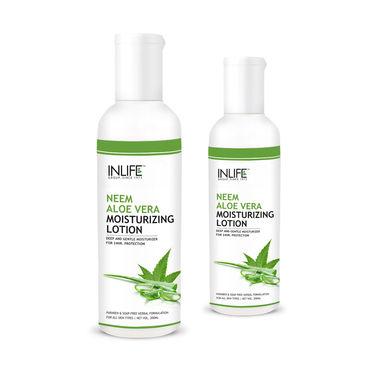 INLIFE Natural Aloe Vera Neem Moisturizing Face Lotion 2 pack 200ml Paraben Free