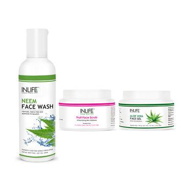 INLIFE Sensitive Skin Care Combo - Neem Face Wash, Fruit Scrub & Aloe Vera Gel
