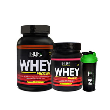 INLIFE Combo Of Whey Protein 2 lbs (908g) Chocolate & 1 lbs (908g) Strawberry�with Free Shaker