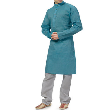 Ishin Cotton Kurta Pajama For Men_Indsh129 - Blue