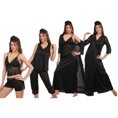 Ishin Satin 6 Piece Nightwear - Black
