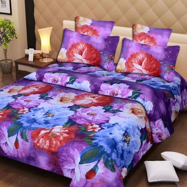 Set of 4 3D Printed Double Bedsheet 8 Pillow covers-IWS-3d-70