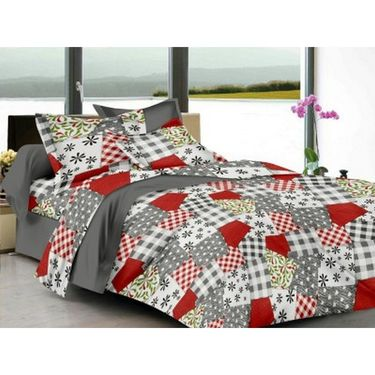 IWS Cotton Printed Double Bedsheet with 2 Pillow Covers-IWS-CB-1254