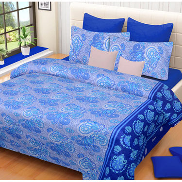 Set of 2 IWS Cotton Printed Double Bedsheet with 4 Pillow Covers-CB1321