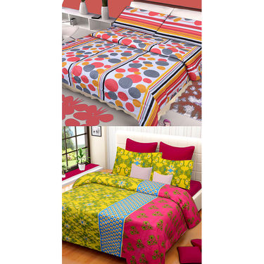 Set of 2 IWS Cotton Printed Double Bedsheet with 4 Pillow Covers-CB1324