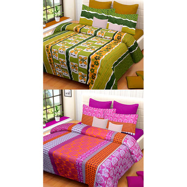 Set of 2 IWS Cotton Printed Double Bedsheet with 4 Pillow Covers-CB1333