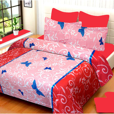 Set of 2 IWS Cotton Printed Double Bedsheet with 4 Pillow Covers-CB1351