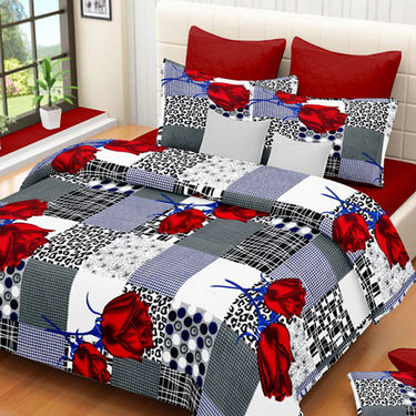Set of 3 IWS Cotton Printed Double Bedsheet with 6 Pillow Covers-CB1402