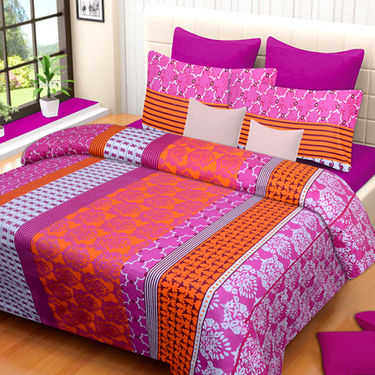 Set of 3 IWS Cotton Printed Double Bedsheet with 6 Pillow Covers-CB1407