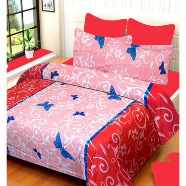Set of 4 IWS Cotton Printed Double Bedsheet with 8 Pillow Covers-CB1440