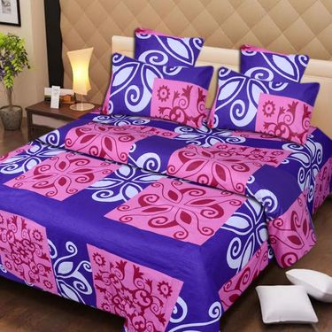 IWS Cotton Printed Double Bedsheet with 2 Pillow Covers-IWS-CB-238