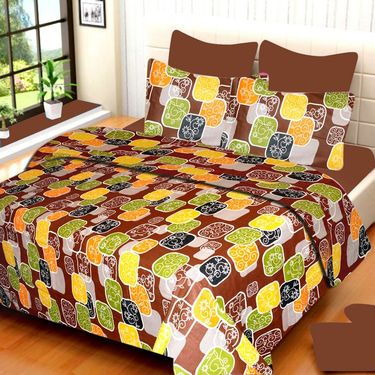 IWS Set of 2 100% Cotton Double Bedsheet with 4 Pillow Cover-IWS-CB-659