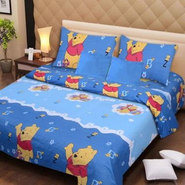 IWS Kids Cotton Printed Double Bedsheet with 2 Pillow cover IWS-CB-73