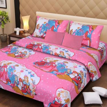 IWS Set of 2 Designer Cotton kids Double Bedsheet with 4 Pillow cover IWS-CCB-34