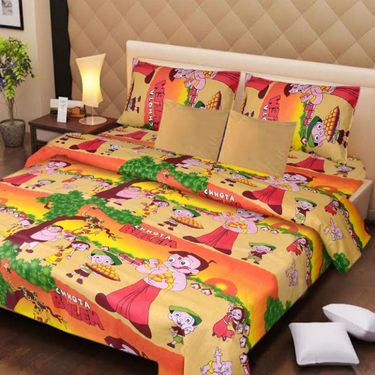 IWS Set of 2 Designer Cotton kids Double Bedsheet with 4 Pillow cover IWS-CCB-37
