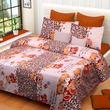 Set of 3 Printed  Double Bedhseets With 6 Pillow Covers-IWS-NPrinted-35