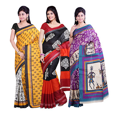 Pack of 3 Ishin Printed Bhagalpuri Silk Saree-Combo-170