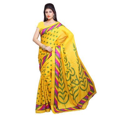 Ishin Bhagalpuri Silk Saree - Yellow-ISHIN-802