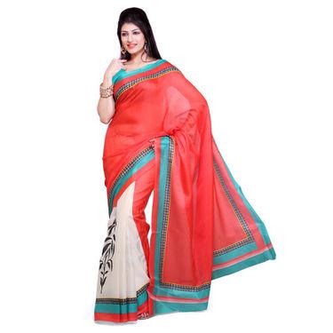 Ishin Bhagalpuri Silk Saree - Red & White