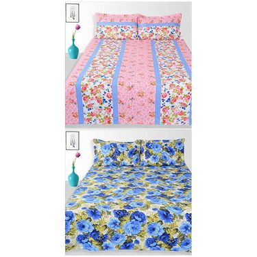 Ahem Homes Cotton 2 Double Bedsheet With 4 Pillow Cover-JC1210