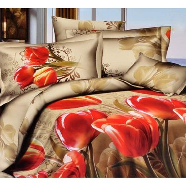 4D Printed  Double Bed Sheet With 2 Pillow Cover- JF-024