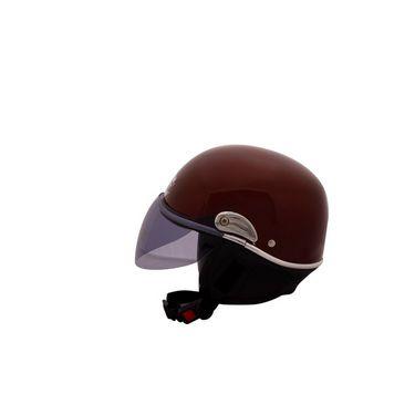 Autofurnish (JR-616) Smart Rider Pillion Unisex Helmet Jupiter (Wine Red) - Smoke Black Glass-JR-616