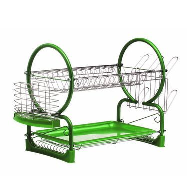 Kawachi Stainless Steel 2 Tier Drainer Rack-Green