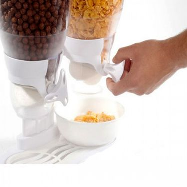 Kawachi Plastic Dual Double Cereal Dry Food Dispenser and Container - White-K224