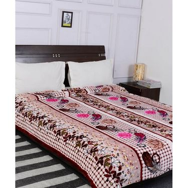 Amore Designer Printed Double Bed Fleece Blanket-KDO11