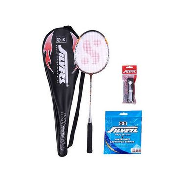Silver'S Micro Badminton Racquet With Full Cover(Assorted) + Silver'S Pvc Grip + Silver'S Sheep Badminton Gut 0.80Mm(10M)