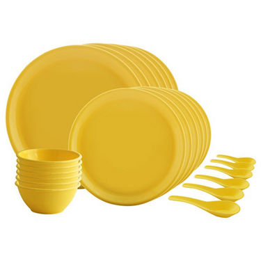24 Pcs Round Microwavable Cookware/Dinner Set - Yellow